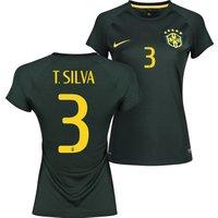 Brazil Third Shirt 2013/15 - Womens Black with T. Silva 3 printing