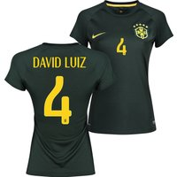 Brazil Third Shirt 2013/15 - Womens Black with David Luiz 4 printing