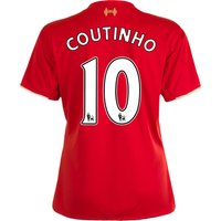 Liverpool Home Shirt 2015/16 - Womens Red with Coutinho 10 printing