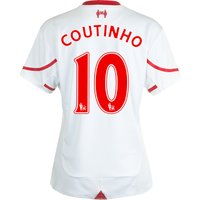 Liverpool Away Shirt 2015/16 - Womens White with Coutinho 10 printing