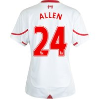 Liverpool Away Shirt 2015/16 - Womens White with Allen 24 printing