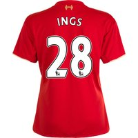 Liverpool Home Shirt 2015/16 - Womens Red with Ings 28 printing