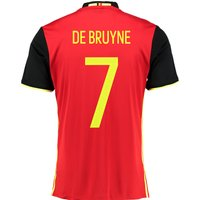 Belgium Home Shirt 2016 Red with De Bruyne 7 printing