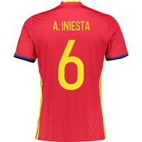 Spain Home Shirt 2016 Red with A.Iniesta 6 printing
