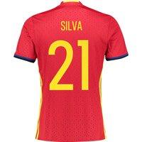 Spain Home Shirt 2016 Red with David Silva 21 printing