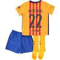 Barcelona Away Kit 2015/16 - Infants Gold with Aleix Vidal 22 printing