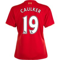 Liverpool Home Shirt 2015/16 - Womens Red with Caulker 19 printing