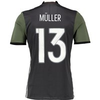 Germany Away Authentic Shirt 2016 Dk Grey with Muller 13 printing