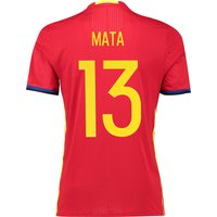 Spain Home Authentic Shirt 2016 Red with Mata 13 printing