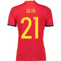 Spain Home Authentic Shirt 2016 Red with David Silva 21 printing