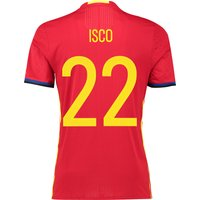 Spain Home Authentic Shirt 2016 Red with Isco 22 printing