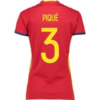 Spain Home Shirt 2016 - Womens Red with Pique 3 printing