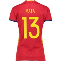 Spain Home Shirt 2016 - Womens Red with Mata 13 printing