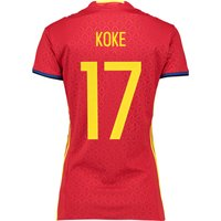 Spain Home Shirt 2016 - Womens Red with Koke 17 printing