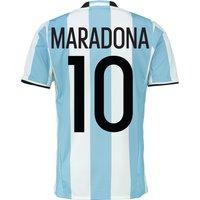 Argentina Home Shirt 2016 Lt Blue With Maradona 10 Printing
