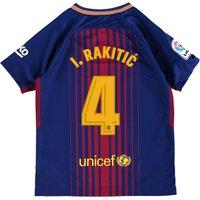Barcelona Home Stadium Shirt 2017-18 - Kids with Rakitic 4 printing