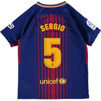 Barcelona Home Stadium Shirt 2017-18 - Kids with Sergio 5 printing