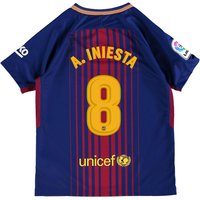 Barcelona Home Stadium Shirt 2017-18 - Kids with A. Iniesta  8 printing
