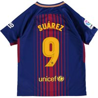 Barcelona Home Stadium Shirt 2017-18 - Kids with Suárez 9 printing