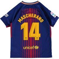 Barcelona Home Stadium Shirt 2017-18 - Kids with Mascherano 14 printing