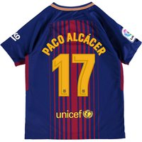 Barcelona Home Stadium Shirt 2017-18 - Kids with Paco Alcácer 17 printing