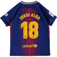 Barcelona Home Stadium Shirt 2017-18 - Kids with Jordi Alba 18 printing
