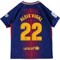 Barcelona Home Stadium Shirt 2017-18 - Kids with Aleix Vidal 22 printing
