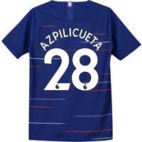 Chelsea Home Stadium Shirt 2018-19 - Kids with Azpilicueta 28 printing