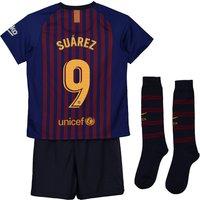Barcelona Home Stadium Kit 2018-19 - Little Kids with Suárez 9 printing