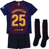 Barcelona Home Stadium Kit 2018-19 - Little Kids with Vermaelen 25 printing
