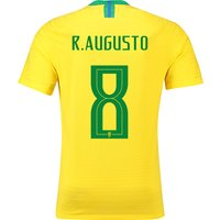 Brazil Home Vapor Match Shirt 2018 with R.Augusto 8 printing