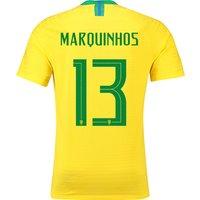 Brazil Home Vapor Match Shirt 2018 with Marquinhos 13 printing