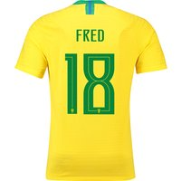 Brazil Home Vapor Match Shirt 2018 with Fred 18 printing