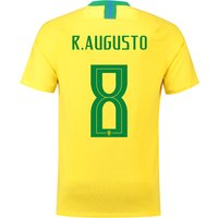 Brazil Home Stadium Shirt 2018 with R.Augusto 8 printing