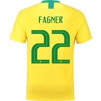 Brazil Home Stadium Shirt 2018 with Fagner 22 printing
