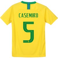 Brazil Home Stadium Shirt 2018 - Kids with Casemiro 5 printing