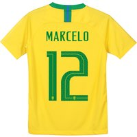 Brazil Home Stadium Shirt 2018 - Kids with Marcelo 12 printing
