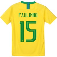 Brazil Home Stadium Shirt 2018 - Kids with Paulinho 15 printing