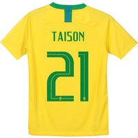 Brazil Home Stadium Shirt 2018 - Kids with Taison 21 printing