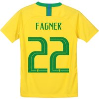 Brazil Home Stadium Shirt 2018 - Kids with Fagner 22 printing