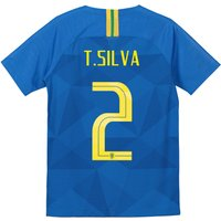 Brazil Away Stadium Shirt 2018 - Kids with T.Silva 2 printing