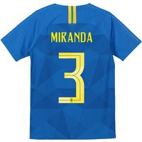 Brazil Away Stadium Shirt 2018 - Kids with Miranda 3 printing
