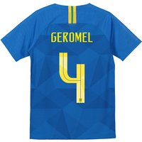 Brazil Away Stadium Shirt 2018 - Kids with Geromel 4 printing