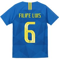 Brazil Away Stadium Shirt 2018 - Kids with Filipe Luis 6 printing
