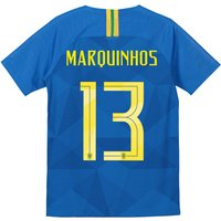 Brazil Away Stadium Shirt 2018 - Kids with Marquinhos 13 printing