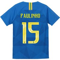 Brazil Away Stadium Shirt 2018 - Kids with Paulinho 15 printing