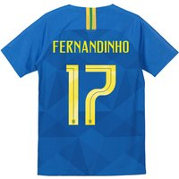 Brazil Away Stadium Shirt 2018 - Kids with Fernandinho 17 printing