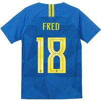 Brazil Away Stadium Shirt 2018 - Kids with Fred 18 printing