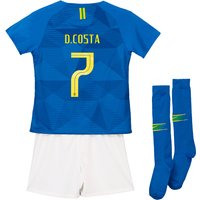 Brazil Away Stadium Kit 2018 - Little Kids with D.Costa 7 printing