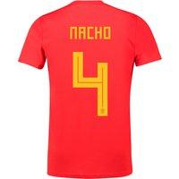 Spain Home Shirt 2018 with Nacho 4 printing